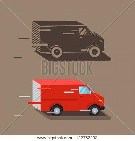 Delivery service van. Fast delivery van. Delivery car icon silhouette. Vector illustration