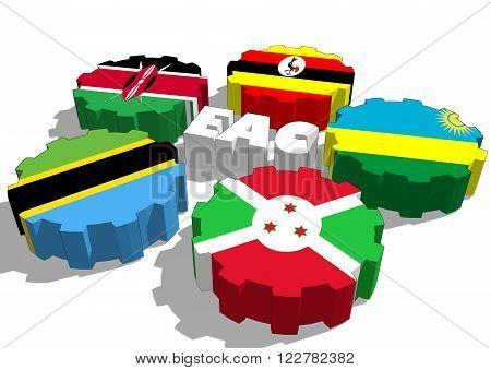 East African Community EAC association of five national economies members flags on gear
