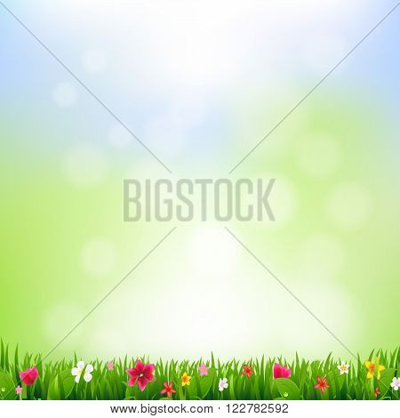 Grass And Flowers And Bokeh With Gradient Mesh, Vector Illustration