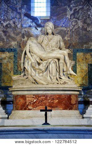 Pieta Statue By Michelangelo In Saint Peter Basilica. Vatican