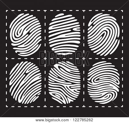 White fingerprint icon set. Fingerprint isolated on black background. Elements of fingerprint identification. Fingerprint security conception. Fingerprint apps icons. Vector fingerprint illustration.