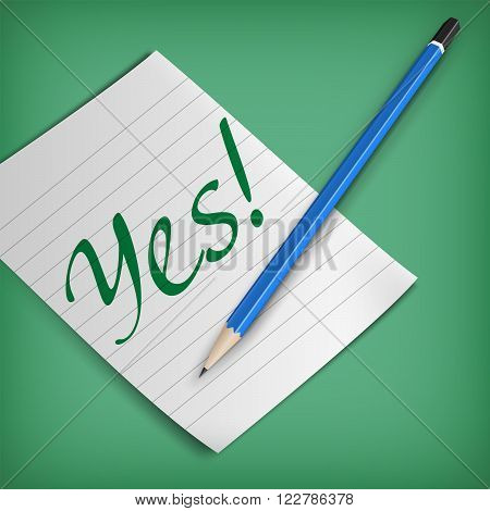 An editable vector illustration of a pencil piece of paper and