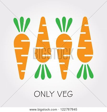 Vector veg carrot illustration. Vector carrot in flat style. Carrots isolated on white background. Carrot vegetable food veg illustration.