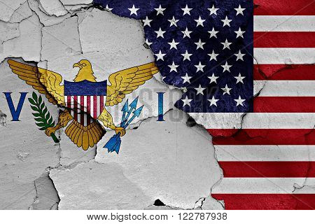 Flags Of Virgin Islands And Usa Painted On Cracked Wall