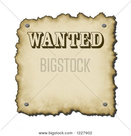 old western looking wanted poster with nails bold text burnt edges small drop shadow rescales nicely poster
