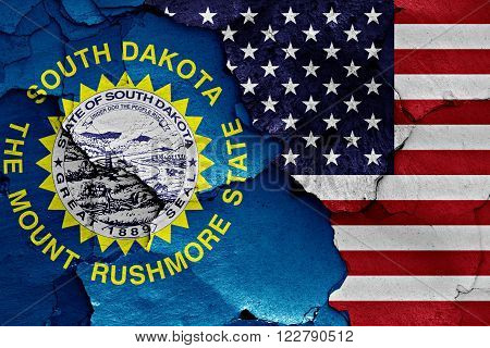 Flags Of South Dakota  And Usa Painted On Cracked Wall