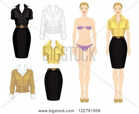 Paper doll with clothes. Body template. Set of template paper clothes. Clothes for office. Pretty girl in beige cardigan, white blouse, yellow blouse, black skirt and beige shoes.