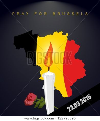 Pray For Brussels. Map Of Belgium. Flag Of Belgium. Mourning In Belgium. Terrorist Attack In Belgium