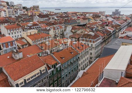 Lisbon, Portugal city skyline over Santa Justa Rua