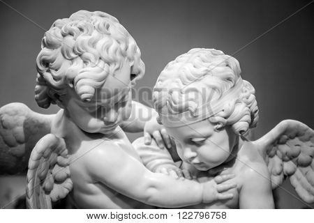 Beautiful marble statue of angels