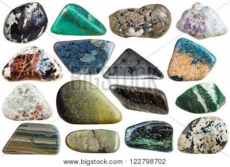 set of mineral stones isolated on white:  rhyolite eudialyte aegirine sphalerite galena sanidine nepheline clinochlore diopside variolite marl fuchsite azurite epidote arsenopyrite lepidolite rhodusite chondrodite