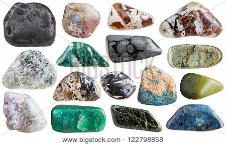 set of mineral stones isolated on white:  shungite porphyrite diopside variolite sanidine aegirine fuchsite azurite microcline epidote arsenopyrite lepidolite chlorite rhodusite eudialyte spreushtein chondrodite