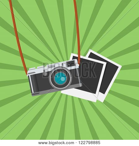 Photo camera with photo frames. Flat design vector illustration. Old camera with strap, isolated antique camera. Hung retro camera. Retro camera straps.