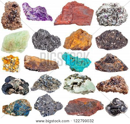 set of mineral stones isolated on white:  prehnite epidote stichtite andradite corundum spessartine garnet basalt graphite lavrovite diopside hematite magnetite jaspillite limonite wolframite chrysocolla lazulite spinel