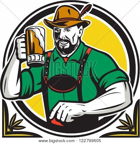 Illustration of a German Bavarian beer drinker raising beer mug for Oktoberfest toast wearing lederhosen and German hat set inside circle done in retro style.