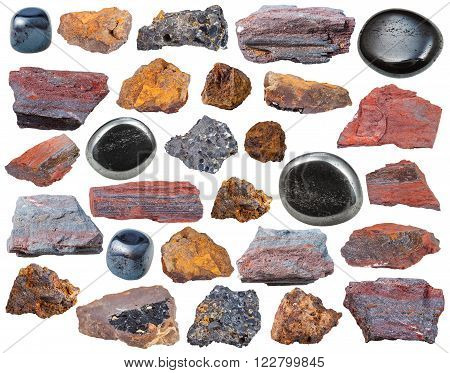set of various Hematite mineral stones and rocks isolated on white background