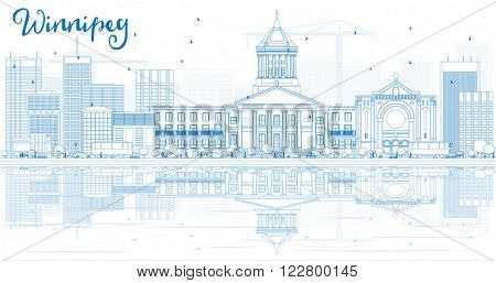 Outline Winnipeg Skyline with Blue Buildings and Reflections. Vector Illustration. Business Travel and Tourism Concept with Modern Buildings. Image for Presentation Banner Placard and Web Site.