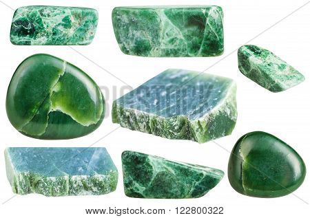 Set Of Various Green Nephrite Gemstones Isolated