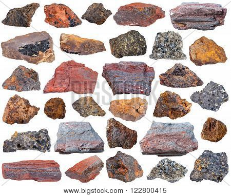 set of specimens of natural mineral rocks - various iron ore stones poster