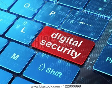 Safety concept: Digital Security on computer keyboard background