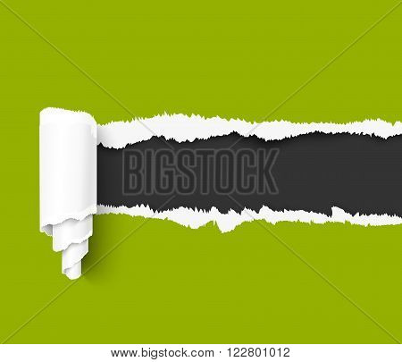 Green torn paper with a paper roll over dark background with space for text. Realistic vector torn damaged paper with ripped edges. Torn paper template. Torn paper banner for web and print advertising and sale promotion.