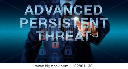 White collar cyber criminal is pushing ADVANCED PERSISTENT THREAT on a touch screen. Information technology and computer security concept for an ongoing hacking process remaining undetected for long.