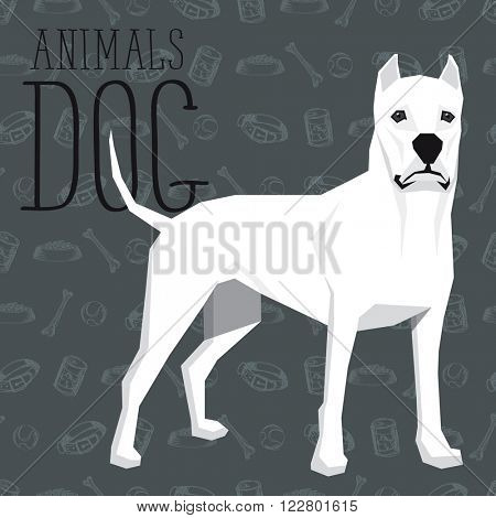 Vector geometric dogs collection with seamless background. Dogo Argentino