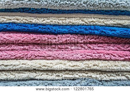 Detail of colored weft of a woolen carpet.