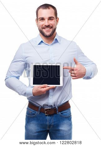 Businessman In Blue Shirt Shows Touch Screen. Isolated On White Background