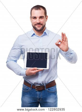 Businessman In Blue Shirt With Tablet Computer Makes Gesture Ok.