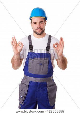 Manual Worker With Blue Helmet Makes A Gesture Ok