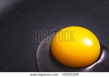 Egg yolk just put in a nonstick skillet.