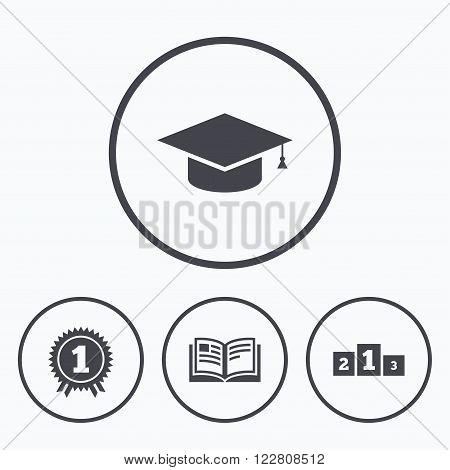 Graduation icons. Graduation student cap sign. Education book symbol. First place award. Winners podium. Icons in circles.
