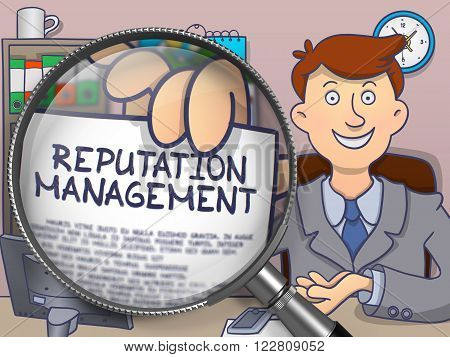 Reputation Management. Man Showing Paper with Text through Magnifier. Colored Doodle Illustration.