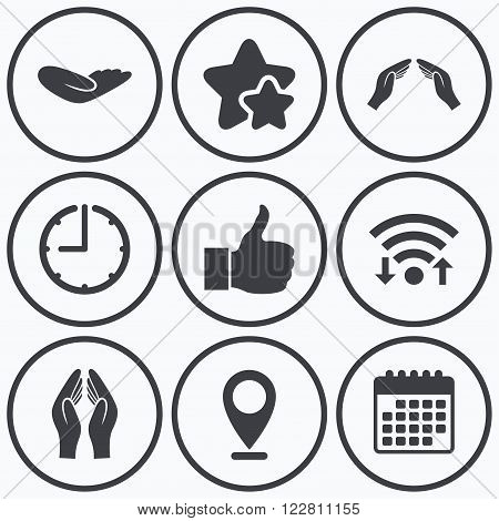 Clock, wifi and stars icons. Hand icons. Like thumb up symbol. Insurance protection sign. Human helping donation hand. Prayer hands. Calendar symbol.