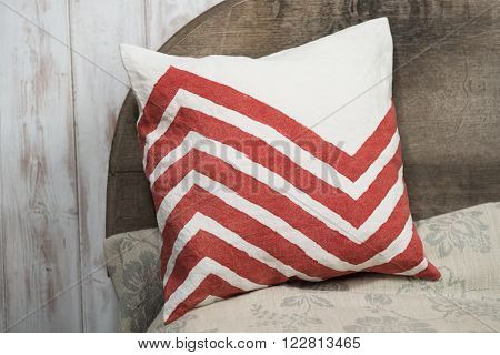 Square White Throw Pillow With Red Zigzags Design