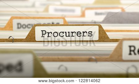 File Folder Labeled as Procurers in Multicolor Archive. Closeup View. Blurred Image. 3D Render.