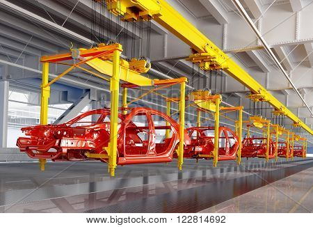 The conveyor for assembly of cars.