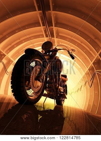 Motorcycle in the tunnel. 3d