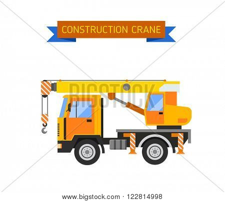 Crane van with crane for lifting goods and city construction transport crane van. Excavator crane van grader concrete scraper truck loader tow wrecker truck web infographic collection vector.