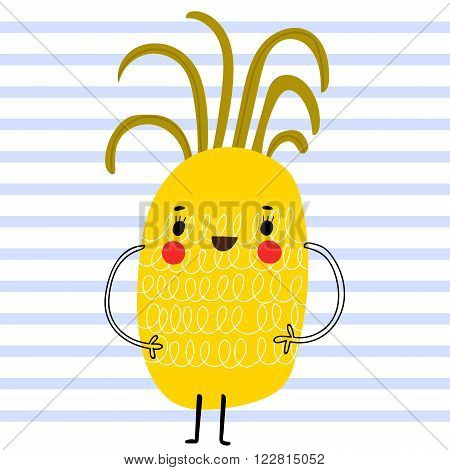 Sweet Pineapple In Funny Cartoon Style. Healthy Concept Card In Vector. Stunning Tasty Background In