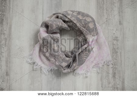 Scarf With Gray And Pink Floral Design