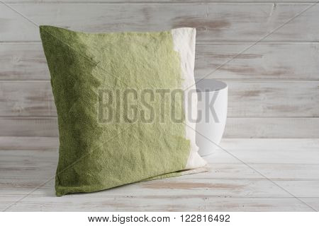 Square Gradient Green Throw Pillow And Empty Vase
