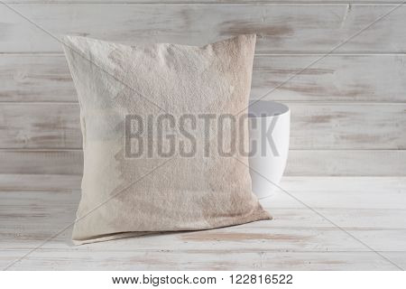 Square Gradient Brown Throw Pillow And Empty Vase