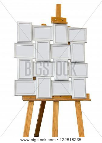 Picture frames on a easel isolated on white background.