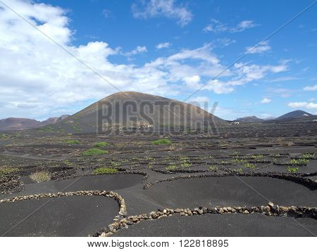 the vulcano Island of Lanzarote in spain