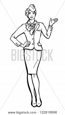 Blonde stewardess. Vector stewardess in blue uniform. Waitress shows up on the information. Image stewardess on a white background. Empty space for information. Stewardess in blue suit and gloves