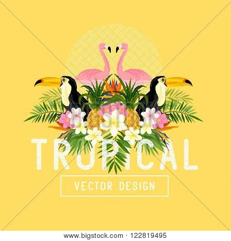 Tropical Summer Vector. Tropic elements including flamingo Palms Bird of paradise flowers and pineapples