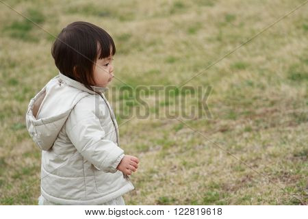 Japanese girl taking a walk in the park (1 year old) ** Note: Visible grain at 100%, best at smaller sizes