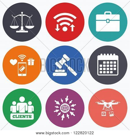 Wifi, mobile payments and drones icons. Scales of Justice icon. Group of clients symbol. Auction hammer sign. Law judge gavel. Court of law. Calendar symbol.